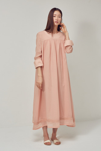 [1차 리오더]PEACH SHIRRING DRESS