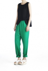 27_GREEN SILK TROUSER