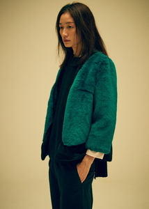 GREEN FAUX FUR JACKET