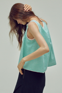 [3차 리오더]MINT GINGHAM CHECK TOP