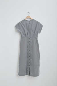 [1차 리오더]STRIPE BUTTON BACK DETAIL DRESS