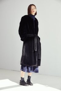 BLACK FAUX FUR LONG COAT