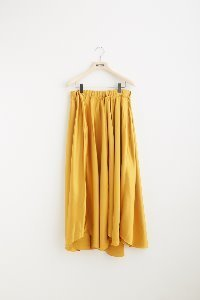 SATIN LONG SKIRT(YELLOW/ NAVY)