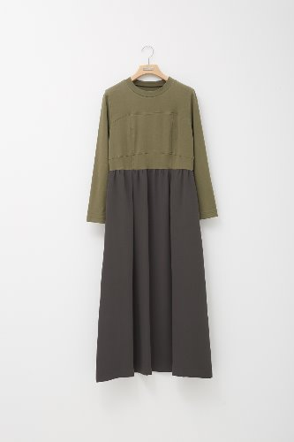 KHAKI JERSEY POLY MIX DRESS