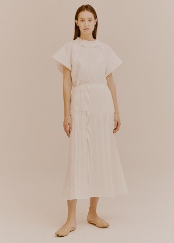 PINTUCK LACE SKIRT_WHITE