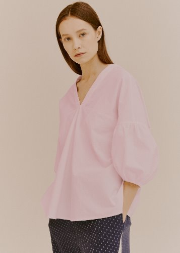 PUFF V-NECK BLOUSE_PINK