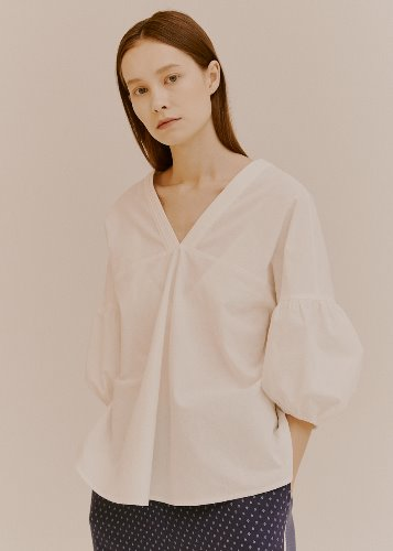 PUFF V-NECK BLOUSE_WHITE