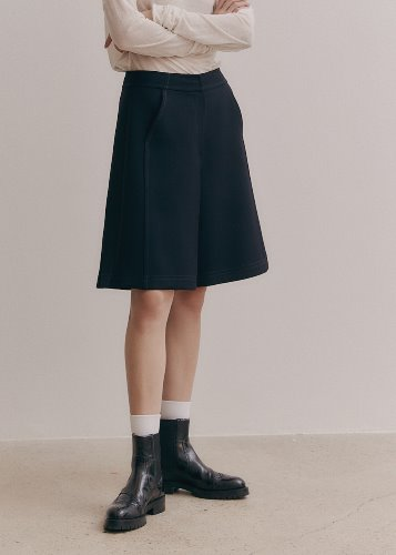 STITCHED WOOL SHORTS_NAVY