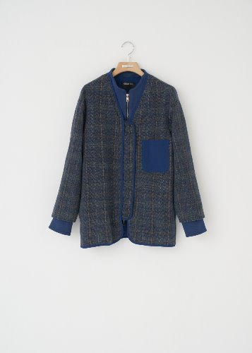 CHECK WOOL JACKET_BLUE