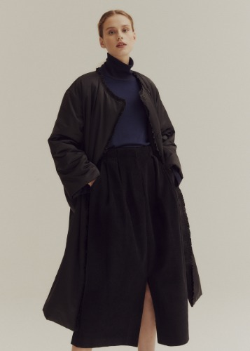 FRILL DETAIL PADDING COAT_BLACK